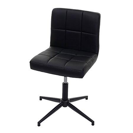 Esszimmerstuhl Cadiz II, Stuhl Küchenstuhl, höhenverstellbar Drehmechanismus ~ Kunstleder schwarz, Fuß schwarz - Bild 1