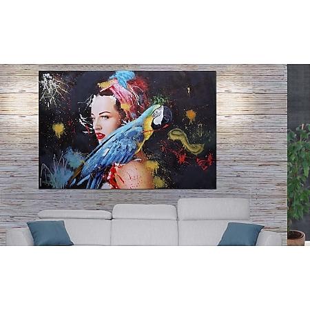 Ölgemälde Frau MCW-H25, Leinwandbild Wandgemälde Gemälde, handgemaltes XL Wandbild ~ 100x150cm - Bild 1