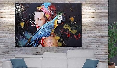 Ölgemälde Frau MCW-H25, Leinwandbild Wandgemälde Gemälde, handgemaltes XL Wandbild ~ 180x120cm - Bild 1