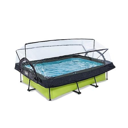 EXIT Lime Pool 220x150x65cm mit Abdeckung und Filterpumpe - grün - Bild 1
