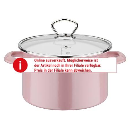 Kochtopf mit Deckel 20 cm emailliert GSW - rosa - Bild 1