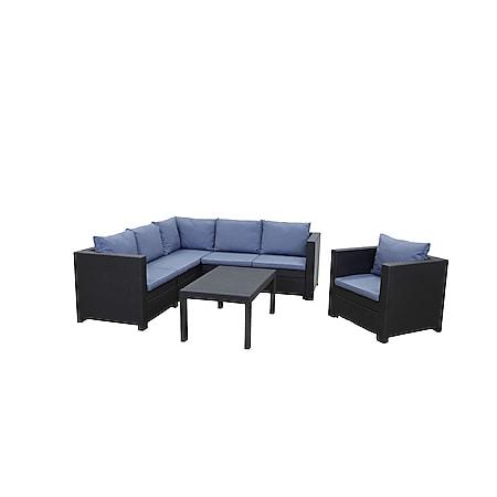 Keter Provence 3-teilig Premium Panama anthrazit mit Kissen blau, Sessel und Tisch 93x59 - Bild 1
