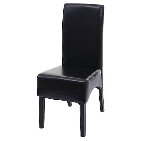 Esszimmerstuhl Crotone, Küchenstuhl Stuhl, Leder ~ schwarz, dunkle Beine - Bild 1