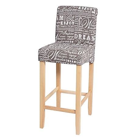 Barhocker MCW-C33, Barstuhl Tresenhocker, Holz ~ Schriftzug, grau, helle Beine, Stoff/Textil - Bild 1