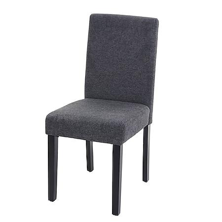 Esszimmerstuhl Littau, Küchenstuhl Stuhl, Stoff/Textil ~ anthrazitgrau, dunkle Beine - Bild 1