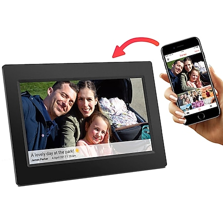 Denver PFF-710 Black Frameo 7 Zoll Digitaler Bilderrahmen Schwarz WiFi microSD 8GB Flash - Bild 1