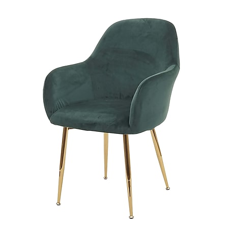 Esszimmerstuhl MCW-F18, Stuhl Küchenstuhl, Retro Design ~ Samt grün, goldene Beine - Bild 1