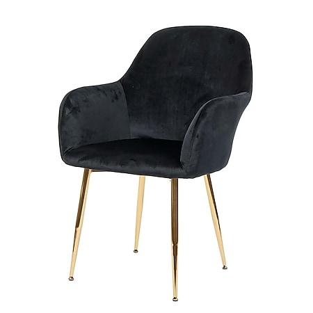 Esszimmerstuhl MCW-F18, Stuhl Küchenstuhl, Retro Design ~ Samt schwarz, goldene Beine - Bild 1