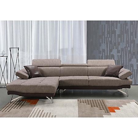 Sofa MCW-H92, Couch Ecksofa L-Form 3-Sitzer, Liegefläche ~ links, braun - Bild 1