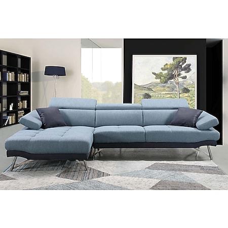 Sofa MCW-H92, Couch Ecksofa L-Form 3-Sitzer, Liegefläche ~ links, blau-grau - Bild 1