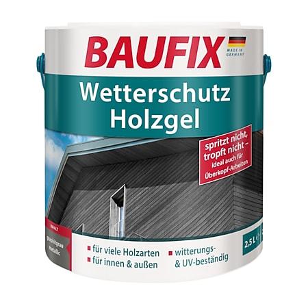 BAUFIX Wetterschutz-Holzgel graphitgrau metallic, 2,5 Liter - Bild 1
