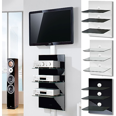 "VCM Paneel Hifi-Halterung Receiver DVD-Player Hifi-Möbel Hifi-Konsole Wandregal ""Xeno-3 Schwarzglas"" - Bild 1"