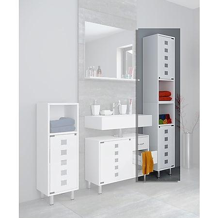 VCM Unterschrank Glastür Badschrank Badmöbel Midischrank Hochschrank Waschbeckenunterschrank Weiss Weiß - Bild 1