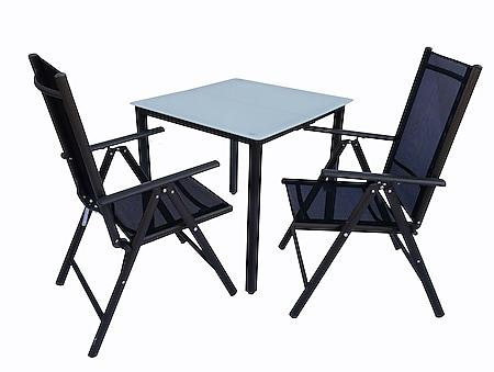 VCM Alu Sitzgruppe 80x80 Mattglas Gartenmöbel Gartengarnitur Tisch Stuhl Essgruppe Gartenset - Bild 1