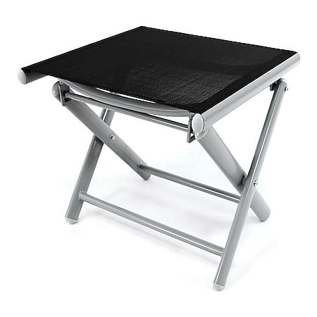 VCM Alu Hocker klappbar Sitzhocker - Textilene schwarz Rahmen hellgrau - Sitzhocker - Bild 1