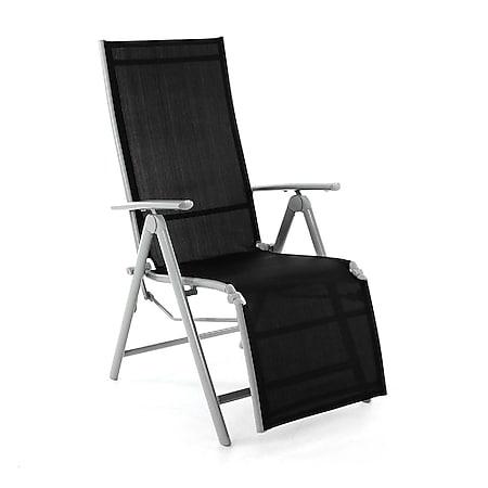 VCM Gartenliege Sonnenliege Liegestuhl Relaxliege Terrasse Balkon schwarz grau - Bild 1