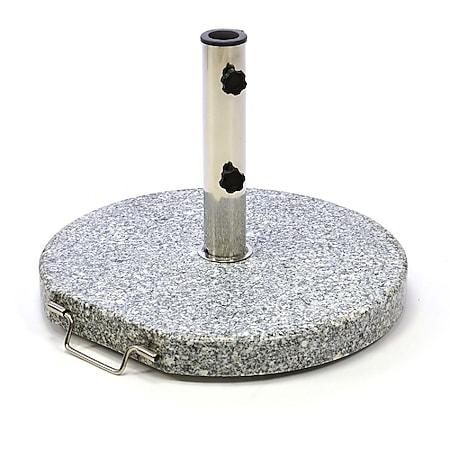 VCM Sonnenschirmständer rollbar 20kg Granit grau rund Ø 40cm Edelstahlhülse Naturstein - Bild 1