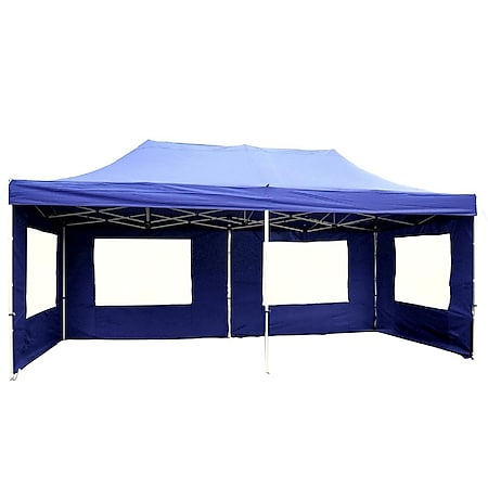 VCM PROFI Faltpavillon Partyzelt 3x6 m blau Seitenteile Dach wasserdicht  270 g/m² - Bild 1