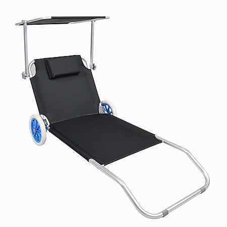 Vcm Sonnenliege Gartenliege Relaxliege Liege Liegestuhl Sonnendach Rollen Online Kaufen Bei Netto