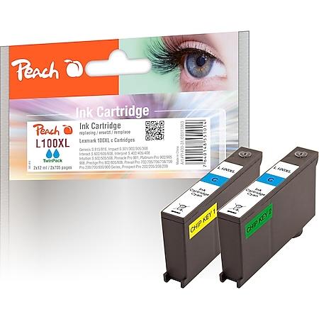 Peach Doppelpack 2 Tintenpatronen cyan kompatibel zu Lexmark No. 100XLC*2, 14N1069E, 14N1093 (wiederaufbereitet) - Bild 1