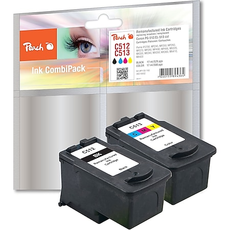 Peach Spar Pack Druckköpfe kompatibel zu Canon PG-512BK, CL-513C, 2969B001, 2971B001 (wiederaufbereitet) - Bild 1