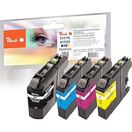 Peach Spar Pack Tintenpatronen kompatibel zu Brother LC-127XLVALBP (wiederaufbereitet) - Bild 1