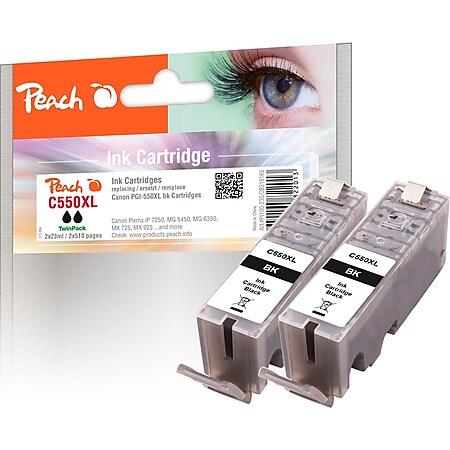 Peach Doppelpack Tintenpatronen schwarz kompatibel zu Canon PGI-550XLPGBK*2, 6431B001 - Bild 1