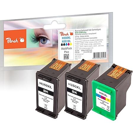 Peach Spar Pack Plus Druckköpfe kompatibel zu HP No. 350XL*2, No. 351XL, CB336EE*2, CB338EE (wiederaufbereitet) - Bild 1