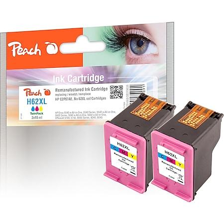 Peach Doppelpack Druckköpfe color kompatibel zu HP No. 62XL c*2, C2P07AE*2 (wiederaufbereitet) - Bild 1