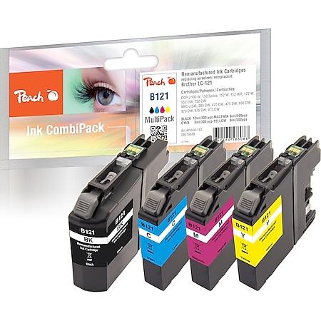 Peach Spar Pack Tintenpatronen kompatibel zu Brother LC-121VALBP (wiederaufbereitet) - Bild 1