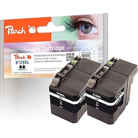 Peach Doppelpack Tintenpatronen XXL schwarz kompatibel zu Brother LC-129XLBK*2 (wiederaufbereitet) - Bild 1