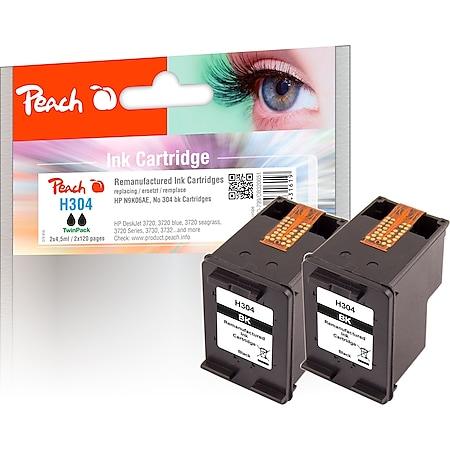 Peach Doppelpack Druckköpfe schwarz kompatibel zu HP No. 304 BK*2, N9K06AE*2 (wiederaufbereitet) - Bild 1