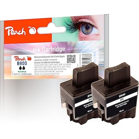 Peach Doppelpack Tintenpatronen schwarz kompatibel zu Brother LC-900bk*2 (wiederaufbereitet) - Bild 1