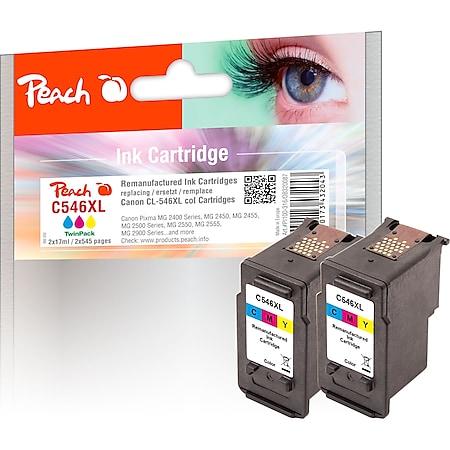 Peach Doppelpack Druckköpfe color kompatibel zu Canon CL-546XL*2, 8288B001*2 (wiederaufbereitet) - Bild 1