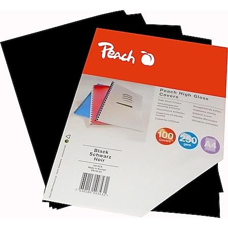 Peach Einbanddeckel hochglänzend, 250 g/m2,  A4, schwarz, 100 Blatt - Bild 1