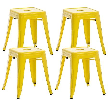 CLP 4er Set Sitzhocker Armin Aus Metall I Stapelbarer Hocker I Sitzhöhe Von 46 cm I Pflegeleichter Arbeitshocker... gelb - Bild 1