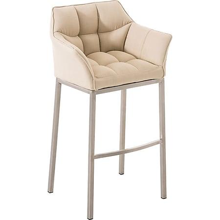 CLP Barhocker DAMASO Stoff mit 4-Fuß Gestell I Barstuhl mit sesselförmigem, pflegeleichtem Sitz und hochwertiger Polsterung... creme, Edelstahl - Bild 1