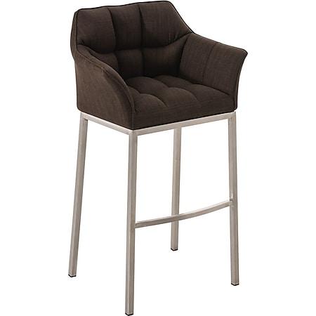 CLP Barhocker DAMASO Stoff mit 4-Fuß Gestell I Barstuhl mit sesselförmigem, pflegeleichtem Sitz und hochwertiger Polsterung... braun, Edelstahl - Bild 1