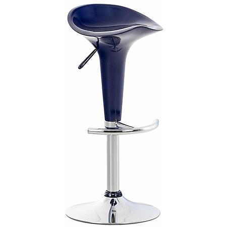 CLP Barhocker SADDLE mit drehbarem Kunsttoffsitz und Fußablage I Höhenverstellbarer Hocker mit Metallgestell in Chrom-Optik... blau - Bild 1