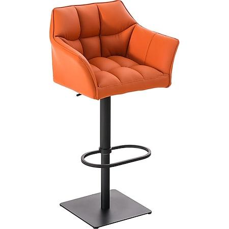 CLP Barhocker DAMASO mit Kunstlederbezug und hochwertiger Polsterung I Barstuhl mit Lehne I Höhenverstellbarer Tresenstuhl mit Fußstütze... orange, Schwarz - Bild 1