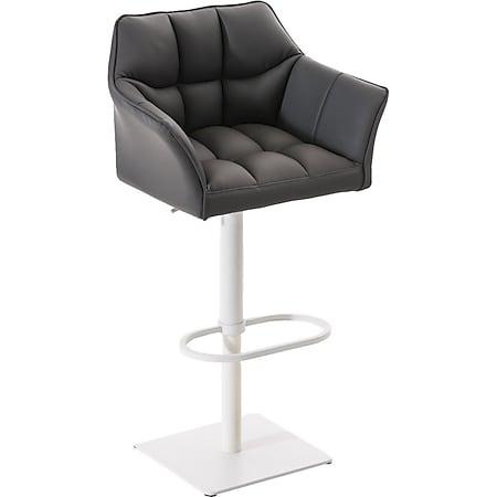 CLP Barhocker DAMASO mit Kunstlederbezug und hochwertiger Polsterung I Barstuhl mit Lehne I Höhenverstellbarer Tresenstuhl mit Fußstütze... grau, Weiß - Bild 1
