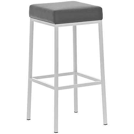 CLP Barhocker MONTREAL mit Kunstlederbezug I Thekenhocker mit einer Sitzhöhe von 80 cm I In verschiedenen Farben erhältlich... grau, Weiß - Bild 1