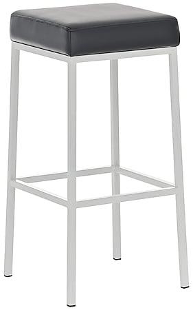 CLP Barhocker MONTREAL mit Kunstlederbezug I Thekenhocker mit einer Sitzhöhe von 80 cm I In verschiedenen Farben erhältlich... schwarz, Weiß - Bild 1