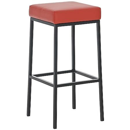 CLP Barhocker MONTREAL mit Kunstlederbezug I Thekenhocker mit einer Sitzhöhe von 85 cm I In verschiedenen Farben erhältlich... rot, Schwarz - Bild 1