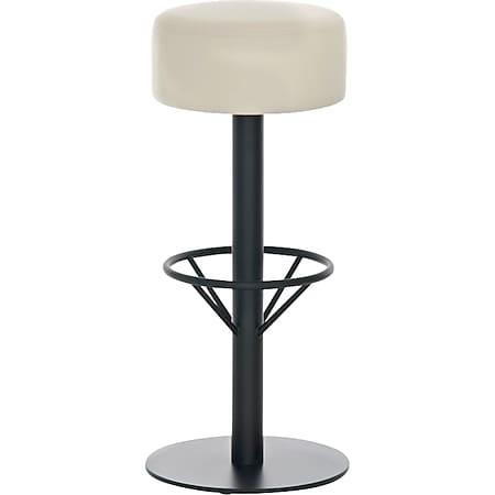 CLP Edelstahl-Barhocker PISA   Barstuhl mit Sitzhöhe 76 cm   Thekenhocker mit hochwertiger Polsterung und Kunstlederbezug... creme, Schwarz - Bild 1
