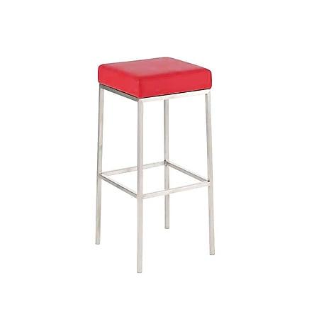 CLP Barhocker MONTREAL mit Kunstlederbezug I Thekenhocker mit einer Sitzhöhe von 80 cm I In verschiedenen Farben erhältlich... rot, Edelstahl - Bild 1
