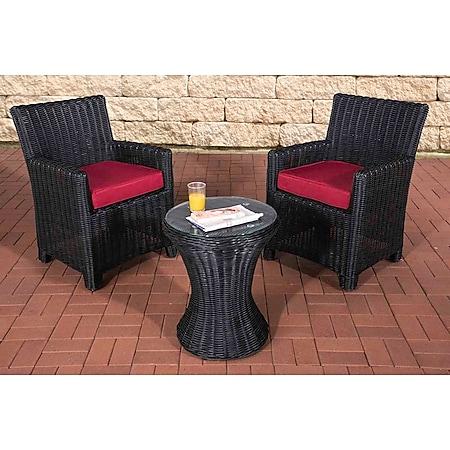 CLP Polyrattan Sitzgruppe Fiori 5 mm rund Rattan, 2 Stühle mit Polster, in 25 verschiedene Farbvariationen wählbar... schwarz, Rubinrot - Bild 1