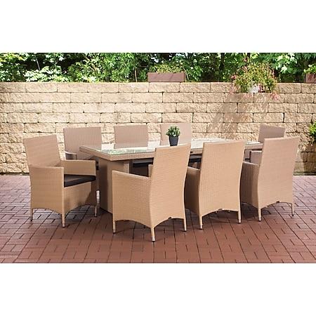 CLP Polyrattan-Sitzgruppe Avignon Big | Garten-Set Mit 8 Sitzplätzen | Komplett-Set: 1x Tisch Und 8 Gartenstühle Mit Sitzkissen... sand, Terrabraun - Bild 1