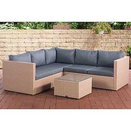 CLP Polyrattan Lounge-Set Genero l Garten-Set Mit 5 Sitzplätzen l Komplett-Set: 3er Sofa + 2er Sofa + Tisch I Garnitur Mit Aluminium-Gestell... sand, Eisengrau - Bild 1