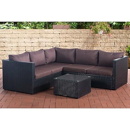 CLP Polyrattan Lounge-Set Genero l Garten-Set Mit 5 Sitzplätzen l Komplett-Set: 3er Sofa + 2er Sofa + Tisch I Garnitur Mit Aluminium-Gestell... schwarz, Terrabraun - Bild 1